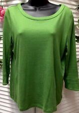 Talbots Womens Shirt Petites MP 3/4 Sleeve Green Color