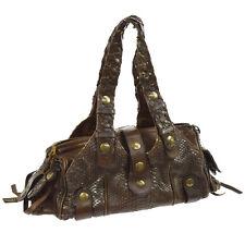 Authentic CHLOE Logos Silverado Shoulder Bag Brown Python Leather Vintage V09144