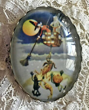 WITCH Ghost Hot Air Balloon Glass Oval Dome BUTTON XL Vintage Halloween Card Art