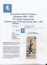 JOHNNY Simpson Gillingham 1957-1972 rare original main signé Journal découpe