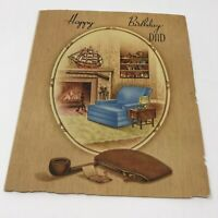 Vintage Happy Birthday Dad Card USA 1960s Ephemera Chair Pipe Study Office Scene
