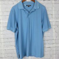 Nordstrom Mens Short Sleeve Polo Shirt Casual Cotton Blue Sz L