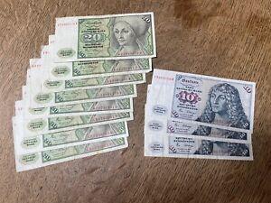3 x 10 Deutsche Mark 1980 und 8 x 20 Deutsche Mark 1980