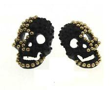 E498 BETSEY JOHNSON Punk Halloween Yellow Gold Beads Skull Earrings US