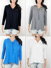 NWT Hollister Women Betty 3/4 Sleeve Easy Fit Hoodie Shirt By Abercrombie
