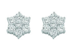 Cluster Earrings Stud Silver Sterling Silver Studs Rhodium Plated