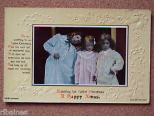 R&L Postcard: Watching for Father Christmas, Children in Night Gowns