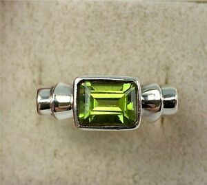 Sterling Silver Green Apple Peridot Gemstone Ring, Size 8