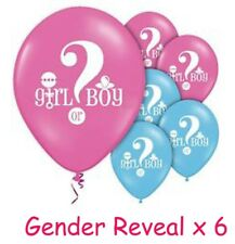 Baby Shower Gender Reveal Girl or Boy Latex Balloons (x6) Pink Blue