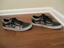 Used Worn Size 12 Vans Old Skool Sneakskin Skateboard Shoes Black White Khaki