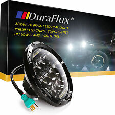 "DuraFlux 7"" for Jeep Wrangler LED Headlight PHILIPS Chips Hi/Lo Beam White DRL"