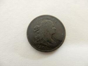 1806 US Half Cent, Draped Bust 1/200, 1/2 Penny, Beautiful Coin, Damaged   #NM46
