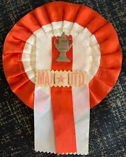 Original 1950s Manchester United Football Rosette 1958 FA Cup Final Pennant