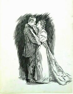 Original W. T. Smedley Pen and Ink Magazine Illustration [Couple Embracing]