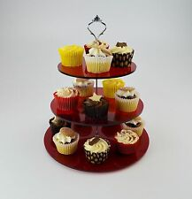 3 Tier Cake Stand for Cup Cakes / Muffins / Afternoon Tea in Red Tinted Acrylic