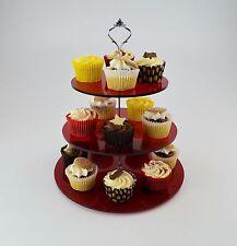 3 tier cake stand pour cup cakes/muffins/thé en rouge teinté acrylique