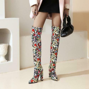 Nightclub style lady pointed bright color over-the-knee high-heel boots oversize