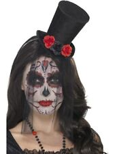 Day Of The Dead Top Hat Ladies Halloween Fancy Dress Accessory