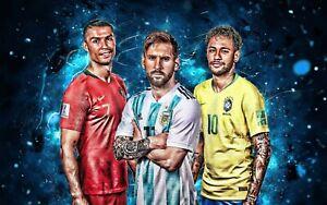 Ronaldo Messi Neymar Football Sport Wall Art Large Framed Canvas Picture