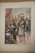 ESTAMPE 19è Couleur G.JEANNIOT HALLES Arlequins Paris typogravure 1886 Gillot