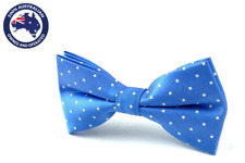 Men's Bowtie Sky Blue with Small White Polka Dots Bowties Dotted Bow Tie for Men