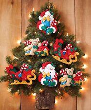Bucilla Santa & His Sleigh ~ 6 Pce Felt Christmas Ornament Kit #86361 New 2012