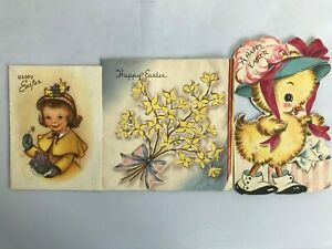 Retro Easter Cards Lot of 3