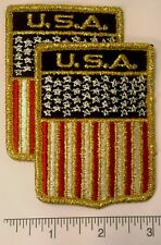 Pair of American Flag Embroidered SHIELD Patch -- Patriotic US USA United States