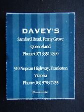 DAVEYS BAR & RESTAURANT FRANKSTON FERNY GROVE MATCHBOOK