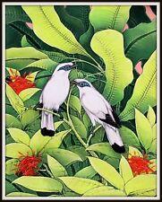 "Original  Balinese Painting ""Jungle Starlings"" (15.5"" High x 12"" Wide)"