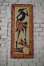 Gemälde Wand Bild Öl Handarbeit Bali Massai Tänzerin Bunt 100x40 cm Afrika