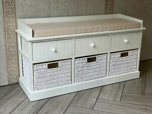 White Twin Seater Storage Bench Home Furniture w/ Drawers Wicker Baskets Cushion