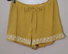 Charlotte Russe Women's Boho Style Lined Gauze Shorts - Mustard - Size Med - NWT
