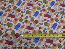 Sew Curious Quilt Thread Spools Buttons Pins BY YARDS Wilmington Cotton Fabric