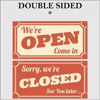 Retro Open and Closed double sided sign 9498 Shop Cafe Garage barber signs