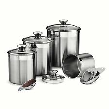Stainless Steel Canister Set, 8 Piece, With Scoops, Air Tigt Tempered Glass Lids
