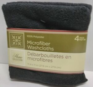 """Home Collection Microfiber Black Washcloths 11""""x11"""" 100% Polyester 4-Count Pack"""
