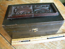 Antique? Wood trinket box Applied Carved decoration