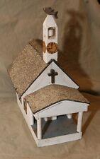Vintage Folk Art Church Bird House Wood Painted Shingle Roof Fish Weathervane