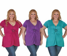 Cotton Blend Short Sleeve Machine Washable Solid Tops & Blouses for Women