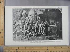 Rare Antique Orig VTG 1901 Smithsonian Simplon Tunnel Workers Photogravure Print