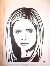 Marcador de tinta negra A4 Pluma de Dibujo Sarah Michelle Gellar como dice Buffy Slayer C