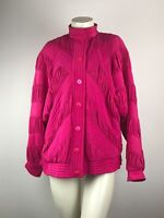 CACHE Vintage 100% Silk Pink Tufted Button Down Jacket Women's Size Medium