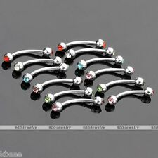 12pcs 16G Stainless Steel Crystal Eyebrow Ring Carved Barbell Bar Body Piercing