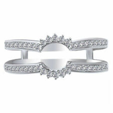 1/4 Ct Solitaire Enhancer Diamonds 14k White Gold Ring Guard Wrap Wedding Halo