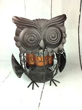 Punched Metal Owl Candle Holder Votive or Tealight Tabletop Luminary Farmhouse