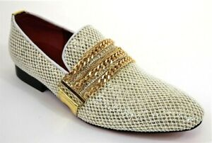 Men's Dress Casual Fancy Shoes Slip On Loafers Gold/White FIESSO