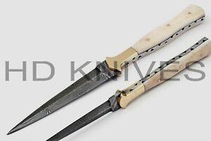 CUSTOM Damascus STEEL DOUBLE EDGE DEGGER HUNTER BOOT KNIFE BONE HANDLE T530