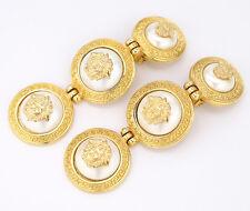 GIANNI VERSACE 3 Medusa Dangle Earrings Pearl Gold Tone #309
