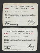 2 LOT 1925 Clemens LONG SERVICE #ed pair Mr Mrs ATSFe RR Pass BETWEEN ALL STAT